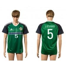 European Cup 2016 Northern Ireland 5 J.Evans green home AAA+ soccer jerseys