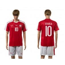 European Cup 2016 Switzerland home 10 Xhaka red soccer jerseys