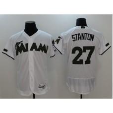 2017 Men MLB Florida Marlins 27 Stanton White Elite Commemorative Edition Jerseys