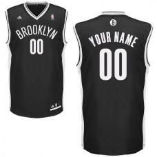 Men Adidas Brooklyn Nets Custom Replica Road Black NBA Jersey