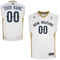 Men Adidas New Orleans Pelicans Custom Replica Home White NBA Jersey