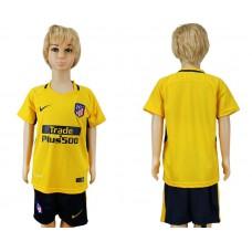 2017-2018 club Atletico Madrid away blank yellow kids soccer jersey