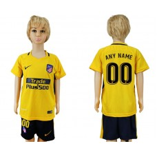 2017-2018 club Atletico Madrid away customized yellow kids soccer jersey