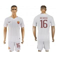 Men 2017-2018 club Rome away 16 white soccer jersey