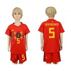 2018 World Cup Belgium home kids 5 red soccer jersey