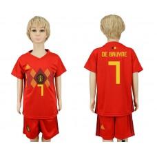 2018 World Cup Belgium home kids 7 red soccer jersey