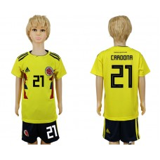 2018 World Cup Colombia home kids 21 yellow soccer jersey
