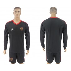 Men 2018 World Cup National Russia goalkeeper black long sleeve soccer jersey