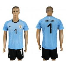 Men 2018 World Cup National Uruguay home 1 blue soccer jersey
