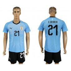 Men 2018 World Cup National Uruguay home 21 blue soccer jersey