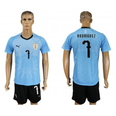 Men 2018 World Cup National Uruguay home 7 blue soccer jersey