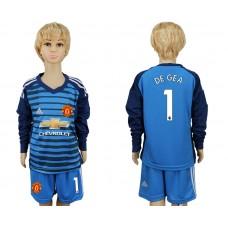 2017-2018 club Manchester united goalkeeper kids Long sleeve 1 soccer jersey