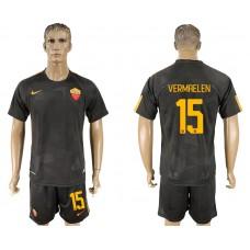 Men 2017-2018 club Rome away 15 black soccer jersey
