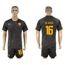 Men 2017-2018 club Rome away 16 black soccer jersey