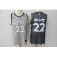 Men Minnesota Timberwolves 22 Wiggins Grey Game Nike NBA Jerseys