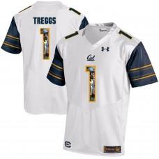 Men California Golden Bears 1 Bryce Treggs White Customized NCAA Jerseys