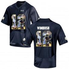 Men Norte Dame Fighting Irish 12 Wimbush Navy Blue Fashion Edition Customized NCAA Jerseys