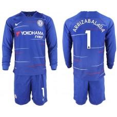 Men 2018-2019 club Chelsea ahome Long sleeve 1 blue soccer jerseys