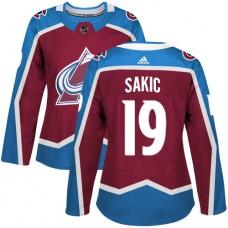Adidas Colorado Avalanche 19 Joe Sakic Burgundy Home Authentic Women Stitched NHL Jersey