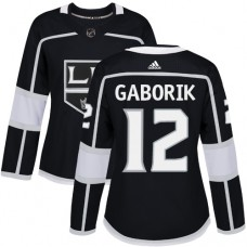 Adidas Los Angeles Kings 12 Marian Gaborik Black Home Authentic Women Stitched NHL Jersey