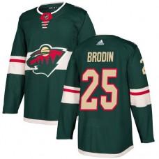 Adidas Men Minnesota Wild 25 Jonas Brodin Green Home Authentic Stitched NHL Jersey