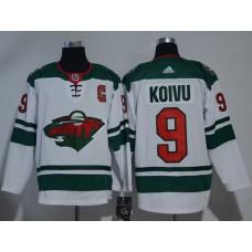 Adidas Men Minnesota Wild 9 Mikko Koivu White Road Authentic Stitched NHL Jersey
