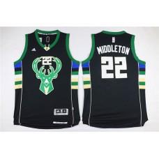Men Milwaukee Bucks 22 Middleton Black Adidas NBA Jersey
