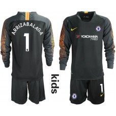 2018_2019 Club Chelsea black long sleeve Youth goalkeeper 1 soccer jerseys
