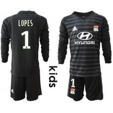 2018_2019 Club Olympique Lyonnais black long sleeve Youth goalkeeper 1(1) soccer jerseys