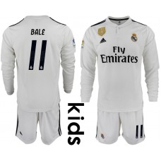 2018_2019 Club Real Madrid home long sleeve Youth 11 soccer jerseys