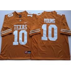 Men Texas Longhorns 10 Young Yellow Nike NCAA Jerseys