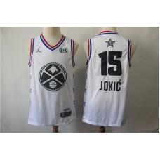 Men Denver Nuggets 15 Jokic White 2019 All Star NBA Jerseys