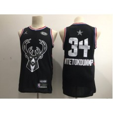 Men Milwaukee Bucks 34 Antetokounmp Black 2019 All Star NBA Jerseys