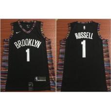 Men Brooklyn Nets 1 Russell Black Nike Game NBA Jerseys