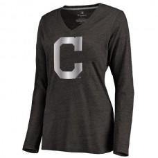 2016 Cleveland Indians Women's Platinum Collection Long Sleeve V-Neck Tri-Blend T-Shirt Black