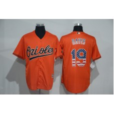 2016 MLB Baltimore Orioles 19 Davis Orange USA Flag Fashion Jerseys