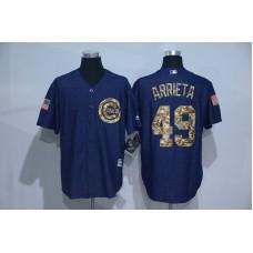 2016 MLB Chicago Cubs 49 Arrieta Cowboy blue camouflage