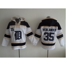 2016 MLB Detroit Tigers 35 Verlander white Lace Up Pullover Hooded Sweatshirt