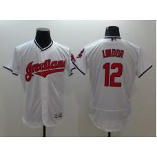 2016 MLB FLEXBASE Cleveland Indians 12 Francisco Lindor White Jerseys
