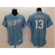 2016 MLB FLEXBASE Kansas City Royals 13 Salvador Perez Light blue Jerseys