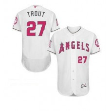 2016 MLB FLEXBASE Los Angeles Angels 27 Mike Trout white mother's day jerseys