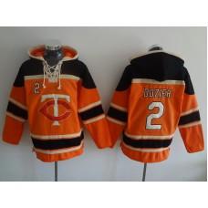 2016 MLB Minnesota Twins 2 Dozier orange Lace Up Pullover Hooded Sweatshirt
