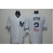 2016 MLB New York Yankees 2 Jeter White USA Flag Fashion Jerseys