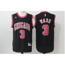 2016 NBA Chicago Bulls 3 Wade Black Jerseys