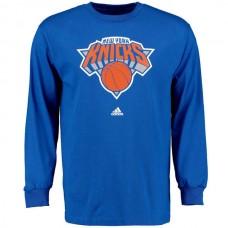 2016 NBA New York Knicks Royal Blue adidas Prime Logo Long Sleeve T-Shirt