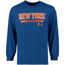 2016 NBA New York Knicks adidas Cut and Paste Long Sleeve T-Shirt - Blue