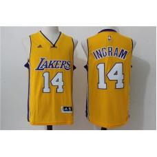 2016 NBA los angeles lakers 14 Ingram Yellow Jerseys
