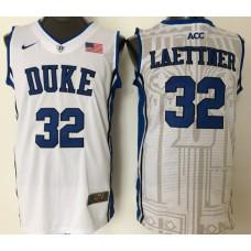 2016 NBA NCAA Duke Blue Devils 32 Laettner White Jerseys 1