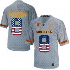 2016 US Flag Fashion Men Arizona State Sun Devils D.J. Foster 8 Desert Fuel College Football Jersey  Grey