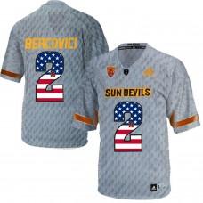 2016 US Flag Fashion Men Arizona State Sun Devils Mike Bercovici 2 Desert Fuel  College Football Jersey  Grey
